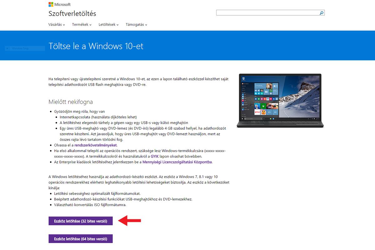 A telepítő médiumot a Microsoft weboldaláról letölthető alkalmazással lehet  elkészíteni 93aefaffdd
